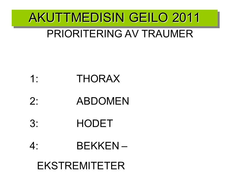 AKUTTMEDISIN GEILO 2011 PRIORITERING AV TRAUMER 1:THORAX 2:ABDOMEN 3:HODET 4:BEKKEN – EKSTREMITETER 5:HYPOTERMI +HELE TIDEN STOPPE BLØDNINGER