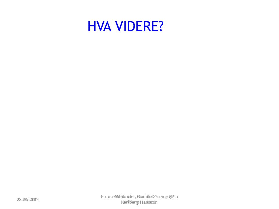 28.06.2014 Frans Bohlander, Gunhild Grue og Pia Karlberg Hansson HVA VIDERE? 28.06.2014 Frans Bohlander, Gunhild Grue og Pia Karlberg Hansson