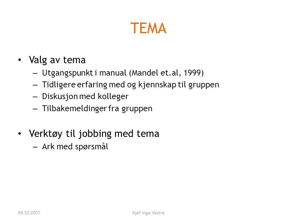 09.10.2007Kjell Inge Vestre TEMA • Valg av tema – Utgangspunkt i manual (Mandel et.al, 1999) – Tidligere erfaring med og kjennskap til gruppen – Disku