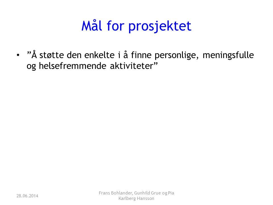 """Mål for prosjektet • """"Å støtte den enkelte i å finne personlige, meningsfulle og helsefremmende aktiviteter"""" 28.06.2014 Frans Bohlander, Gunhild Grue"""