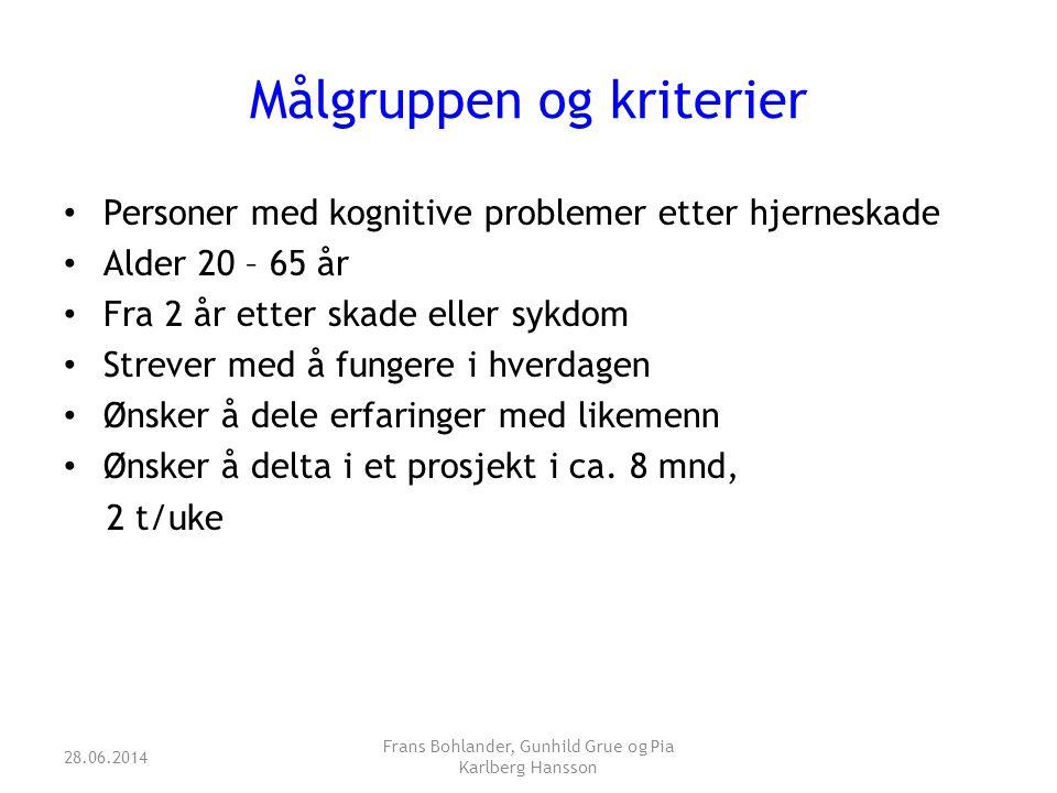 Målgruppen og kriterier • Personer med kognitive problemer etter hjerneskade • Alder 20 – 65 år • Fra 2 år etter skade eller sykdom • Strever med å fu