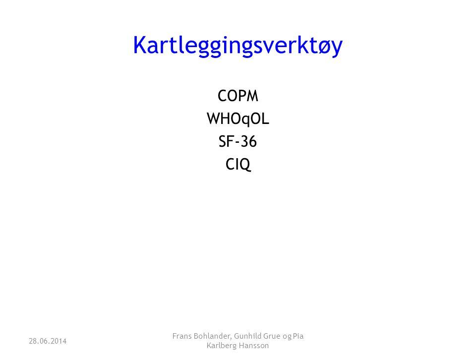 Kartleggingsverktøy COPM WHOqOL SF-36 CIQ 28.06.2014 Frans Bohlander, Gunhild Grue og Pia Karlberg Hansson