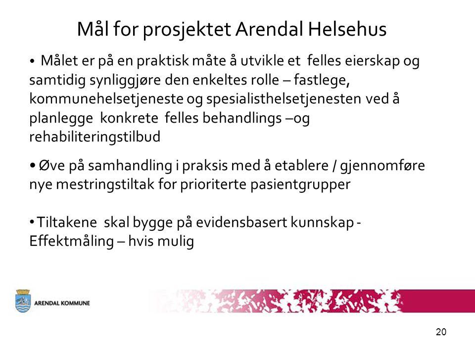 20 Mål for prosjektet Arendal Helsehus • Målet er på en praktisk måte å utvikle et felles eierskap og samtidig synliggjøre den enkeltes rolle – fastle