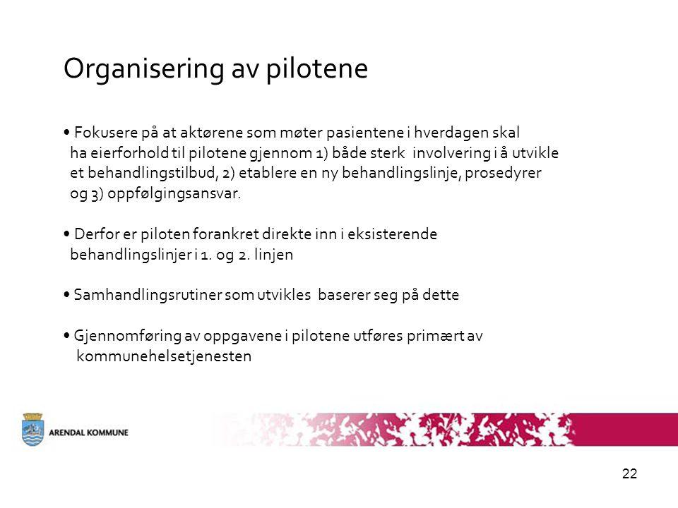 22 Organisering av pilotene • Fokusere på at aktørene som møter pasientene i hverdagen skal ha eierforhold til pilotene gjennom 1) både sterk involver