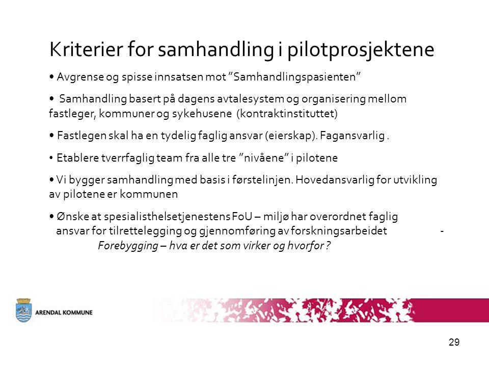 """29 Kriterier for samhandling i pilotprosjektene • Avgrense og spisse innsatsen mot """"Samhandlingspasienten"""" • Samhandling basert på dagens avtalesystem"""