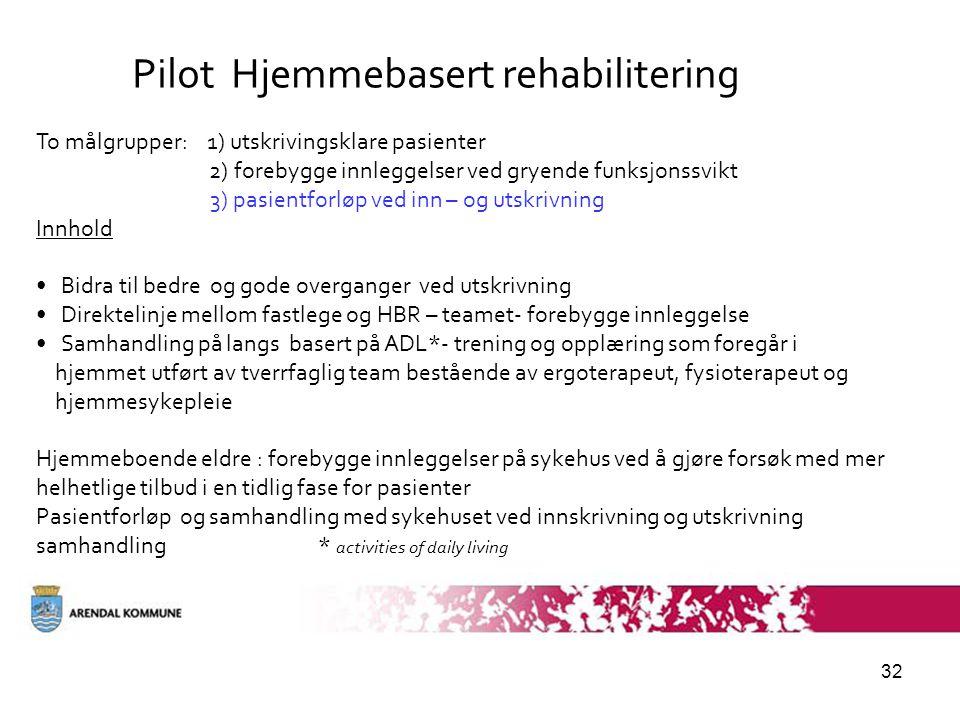 32 Pilot Hjemmebasert rehabilitering To målgrupper: 1) utskrivingsklare pasienter 2) forebygge innleggelser ved gryende funksjonssvikt 3) pasientforløp ved inn – og utskrivning Innhold • Bidra til bedre og gode overganger ved utskrivning • Direktelinje mellom fastlege og HBR – teamet- forebygge innleggelse • Samhandling på langs basert på ADL*- trening og opplæring som foregår i hjemmet utført av tverrfaglig team bestående av ergoterapeut, fysioterapeut og hjemmesykepleie Hjemmeboende eldre : forebygge innleggelser på sykehus ved å gjøre forsøk med mer helhetlige tilbud i en tidlig fase for pasienter Pasientforløp og samhandling med sykehuset ved innskrivning og utskrivning samhandling * activities of daily living