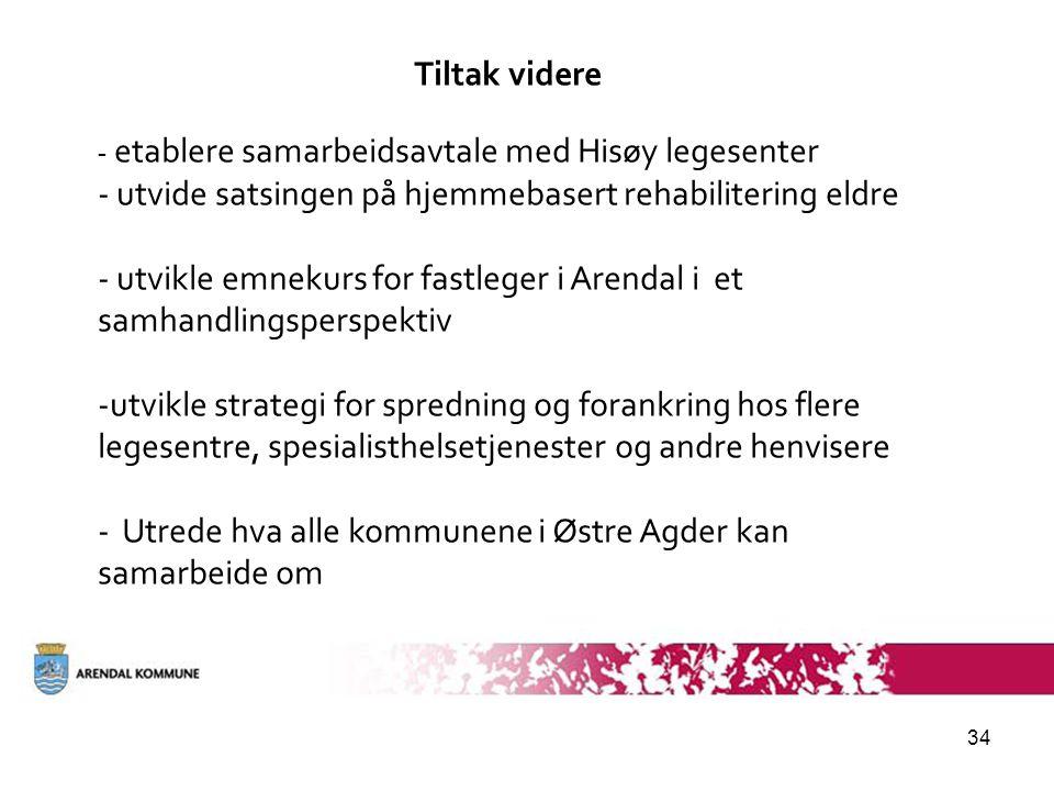 34 Tiltak videre - etablere samarbeidsavtale med Hisøy legesenter - utvide satsingen på hjemmebasert rehabilitering eldre - utvikle emnekurs for fastleger i Arendal i et samhandlingsperspektiv -utvikle strategi for spredning og forankring hos flere legesentre, spesialisthelsetjenester og andre henvisere - Utrede hva alle kommunene i Østre Agder kan samarbeide om