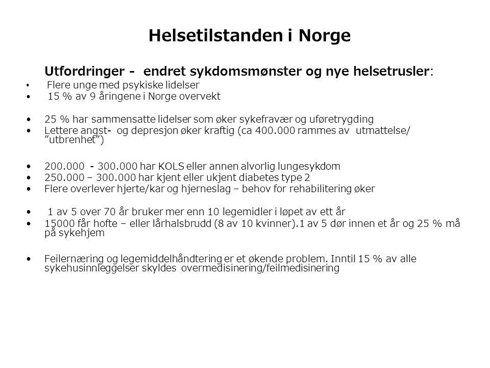 Helsetilstanden i Norge Utfordringer - endret sykdomsmønster og nye helsetrusler: • Flere unge med psykiske lidelser • 15 % av 9 åringene i Norge overvekt •25 % har sammensatte lidelser som øker sykefravær og uføretrygding •Lettere angst- og depresjon øker kraftig (ca 400.000 rammes av utmattelse/ utbrenhet ) •200.000 - 300.000 har KOLS eller annen alvorlig lungesykdom •250.000 – 300.000 har kjent eller ukjent diabetes type 2 •Flere overlever hjerte/kar og hjerneslag – behov for rehabilitering øker • 1 av 5 over 70 år bruker mer enn 10 legemidler i løpet av ett år •15000 får hofte – eller lårhalsbrudd (8 av 10 kvinner).1 av 5 dør innen et år og 25 % må på sykehjem •Feilernæring og legemiddelhåndtering er et økende problem.