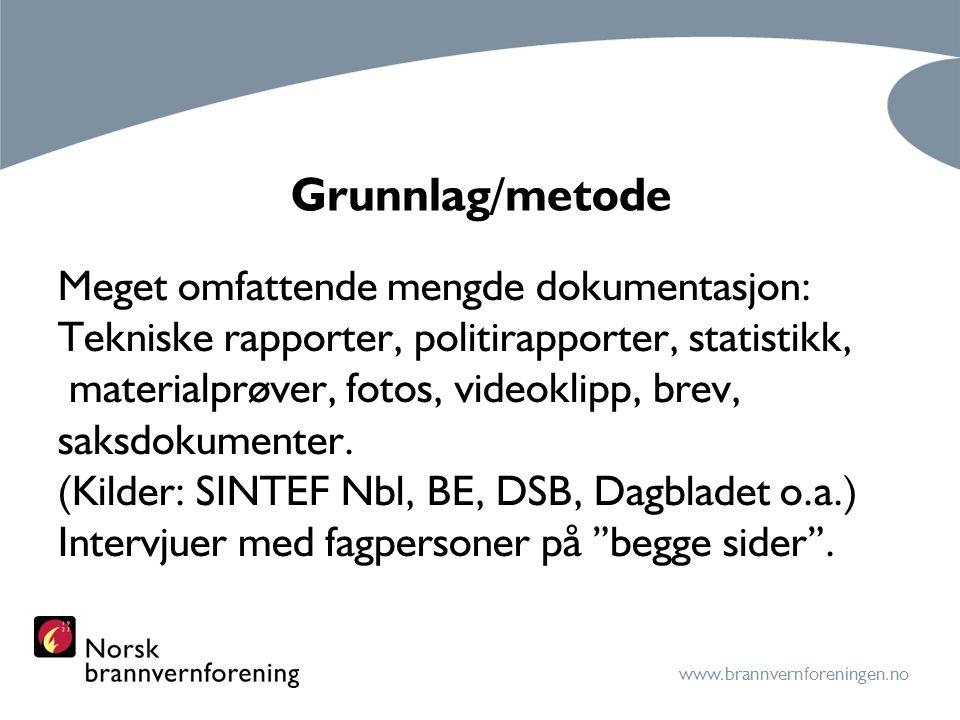www.brannvernforeningen.no Testmetoder I 1990 kom NS 3918 Branntekniske krav.