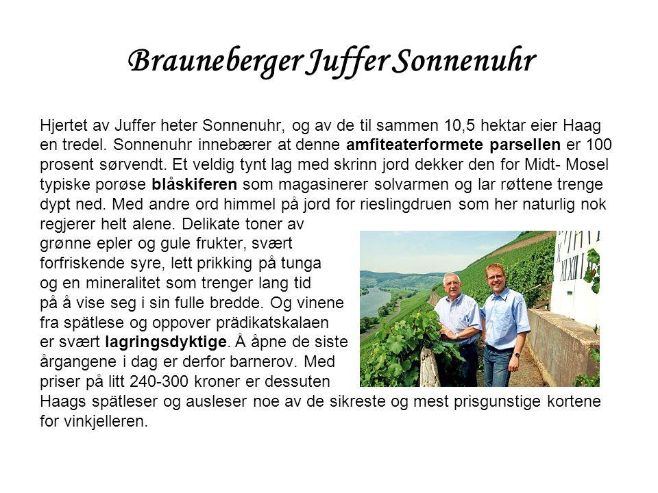 Brauneberger Juffer Sonnenuhr Hjertet av Juffer heter Sonnenuhr, og av de til sammen 10,5 hektar eier Haag en tredel. Sonnenuhr innebærer at denne amf