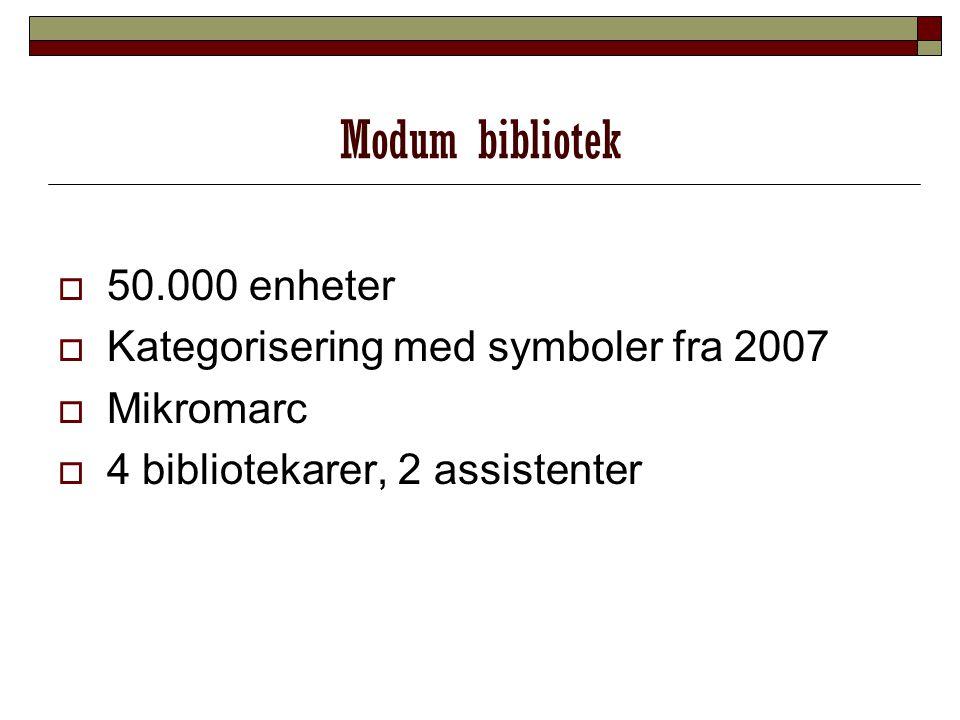 Modum bibliotek 550.000 enheter KKategorisering med symboler fra 2007 MMikromarc 44 bibliotekarer, 2 assistenter