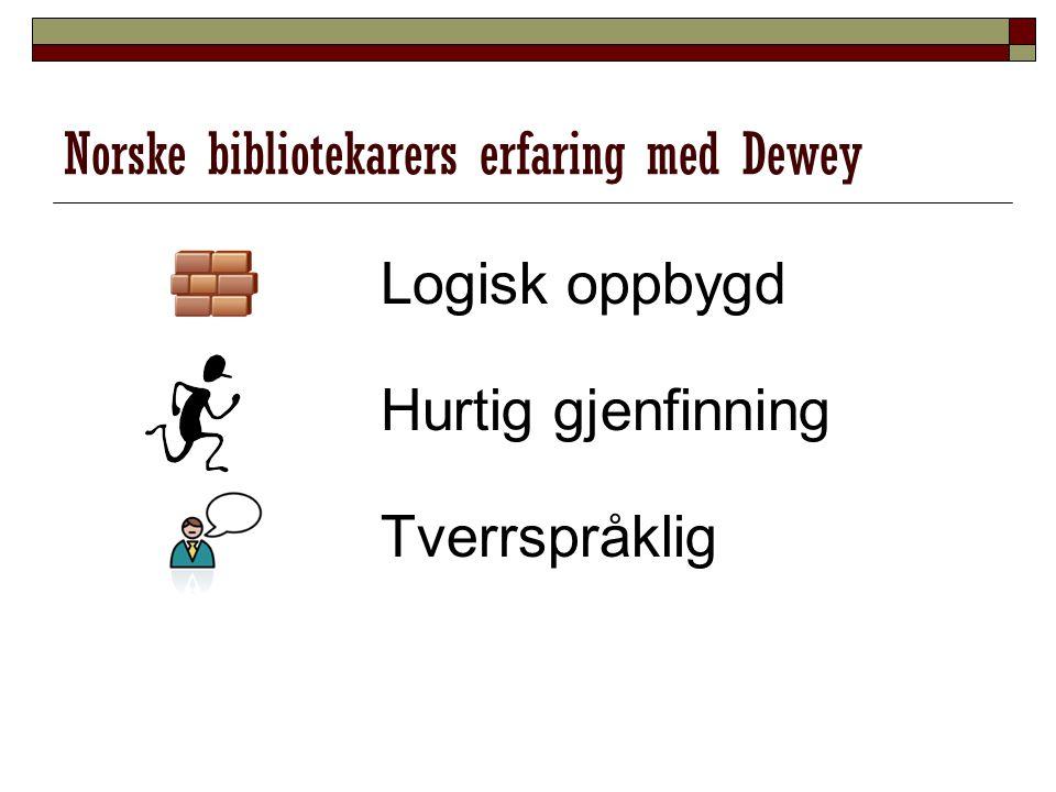 Norske bibliotekarers erfaring med Dewey Logisk oppbygd Hurtig gjenfinning Tverrspråklig