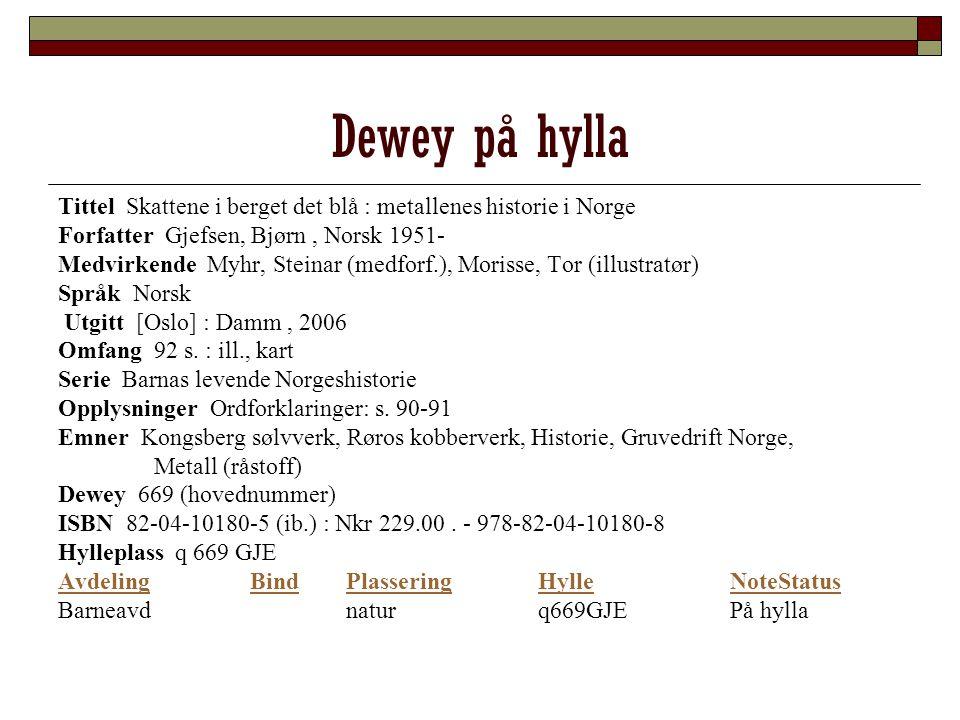 Dewey på hylla Tittel Skattene i berget det blå : metallenes historie i Norge Forfatter Gjefsen, Bjørn, Norsk 1951- Medvirkende Myhr, Steinar (medforf