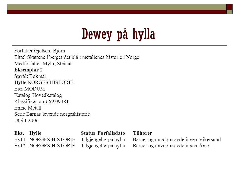 Dewey på hylla Forfatter Gjefsen, Bjørn Tittel Skattene i berget det blå : metallenes historie i Norge Medforfatter Myhr, Steinar Eksemplar 2 Språk Bo