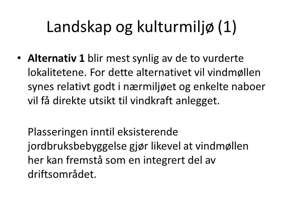 Landskap og kulturmiljø (1) • Alternativ 1 blir mest synlig av de to vurderte lokalitetene.