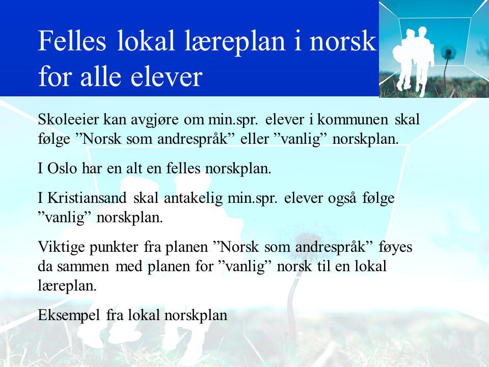 """Viktige punkter fra ny plan for """"Norsk som andrespråk"""" Formål med faget Faget norsk som andrespråk skal gi elevene nødvendige ferdigheter for at norsk"""
