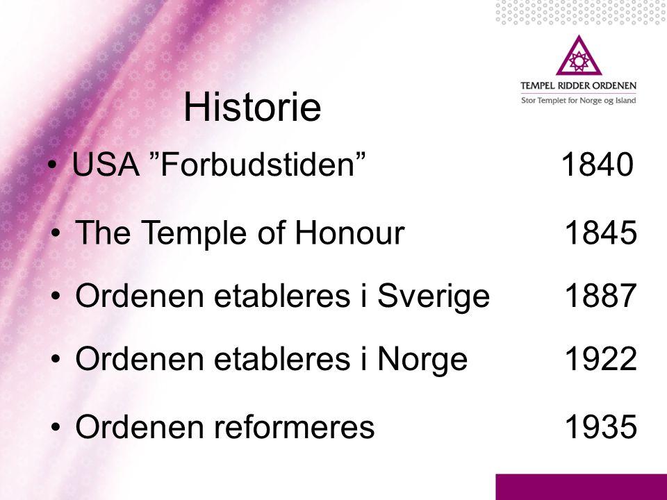 """Historie •USA """"Forbudstiden"""" 1840 •The Temple of Honour 1845 •Ordenen etableres i Norge 1922 •Ordenen reformeres 1935 •Ordenen etableres i Sverige 188"""