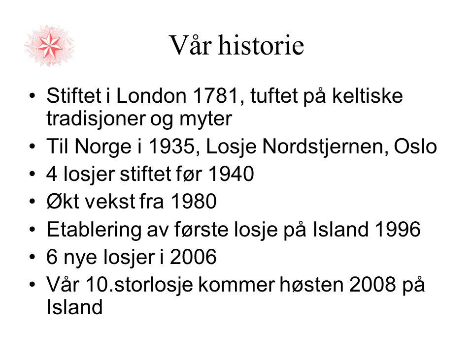Vår historie •Stiftet i London 1781, tuftet på keltiske tradisjoner og myter •Til Norge i 1935, Losje Nordstjernen, Oslo •4 losjer stiftet før 1940 •Ø