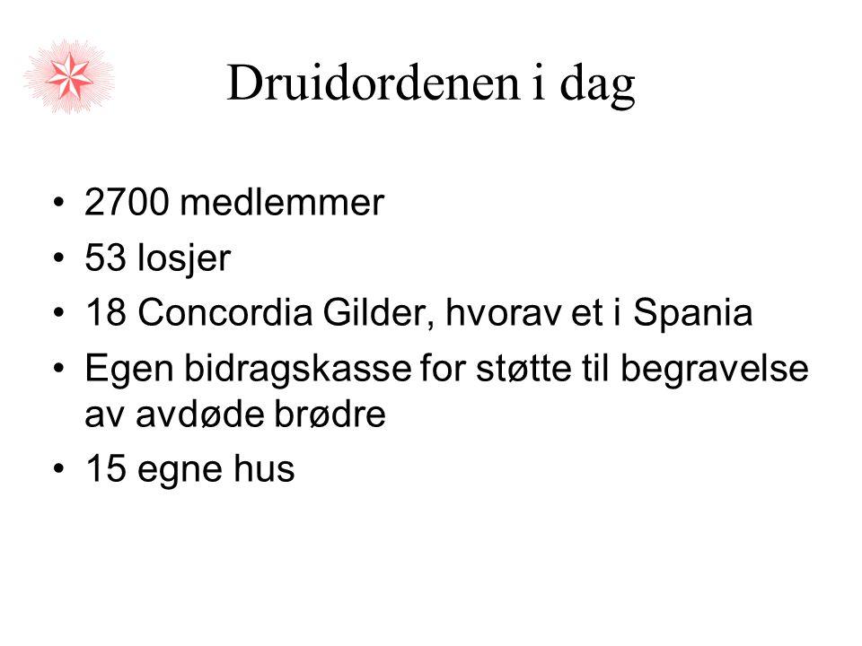 Druidordenen i dag •2700 medlemmer •53 losjer •18 Concordia Gilder, hvorav et i Spania •Egen bidragskasse for støtte til begravelse av avdøde brødre •