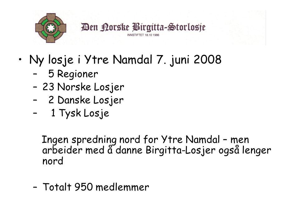•Ny losje i Ytre Namdal 7. juni 2008 – 5 Regioner –23 Norske Losjer – 2 Danske Losjer – 1 Tysk Losje Ingen spredning nord for Ytre Namdal – men arbeid