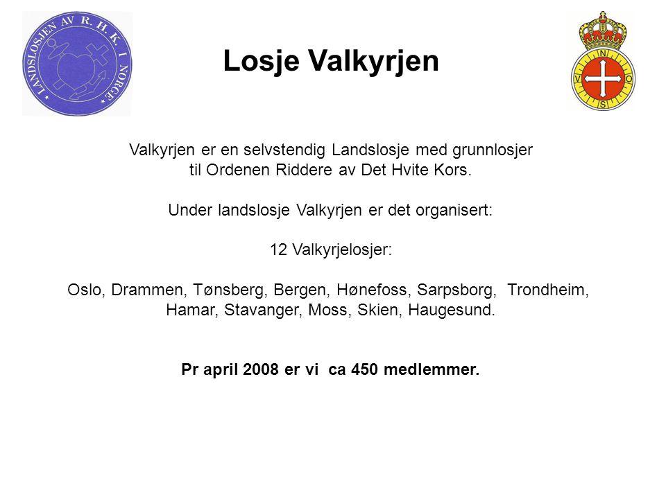 Losje Valkyrjen Valkyrjen er en selvstendig Landslosje med grunnlosjer til Ordenen Riddere av Det Hvite Kors. Under landslosje Valkyrjen er det organi