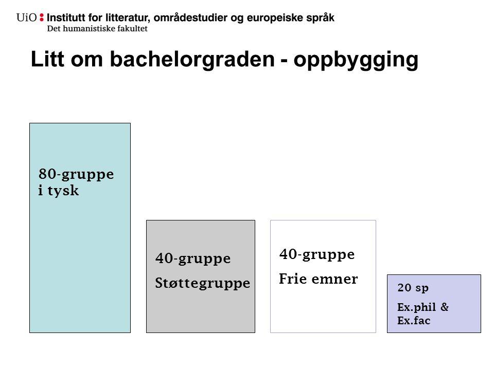 Litt om bachelorgraden - oppbygging 80-gruppe i tysk 40-gruppe Støttegruppe 40-gruppe Frie emner 20 sp Ex.phil & Ex.fac