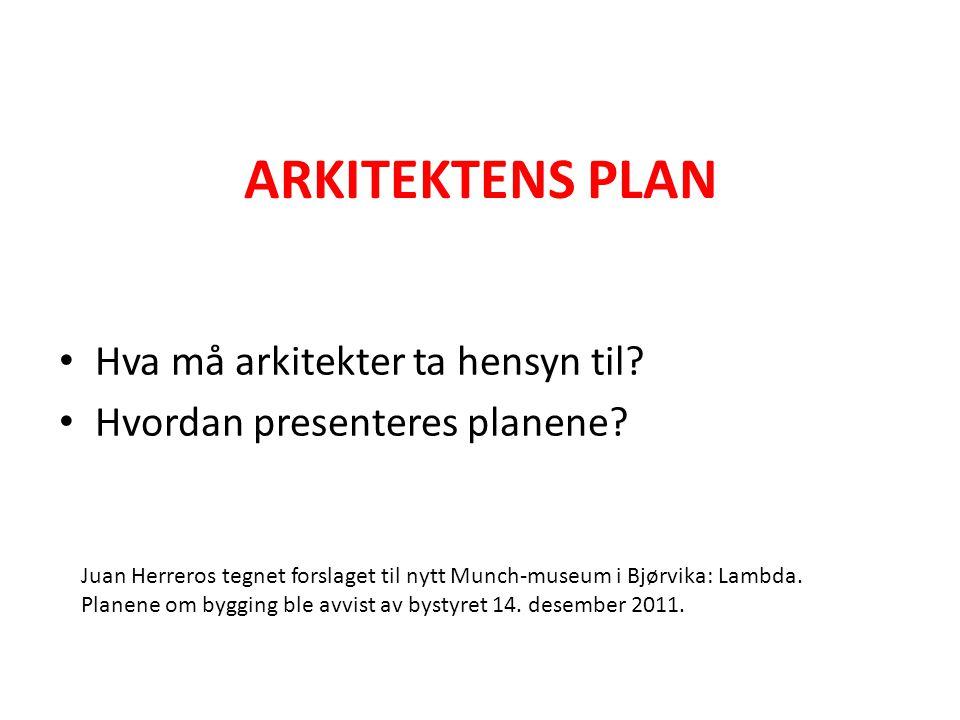 ARKITEKTENS PLAN • Hva må arkitekter ta hensyn til? • Hvordan presenteres planene? Juan Herreros tegnet forslaget til nytt Munch-museum i Bjørvika: La