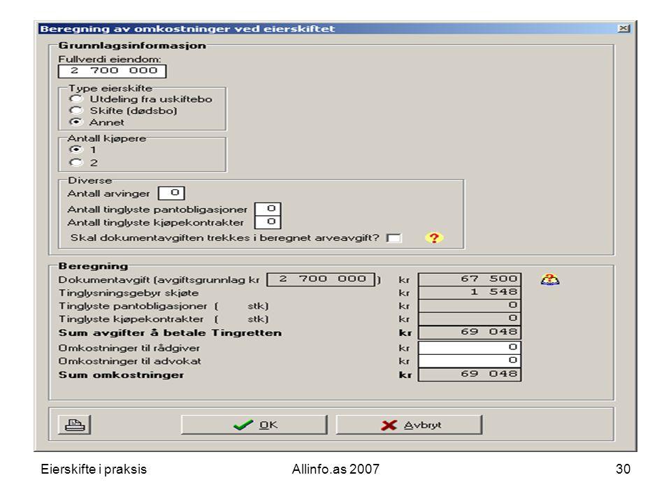 Eierskifte i praksisAllinfo.as 200730