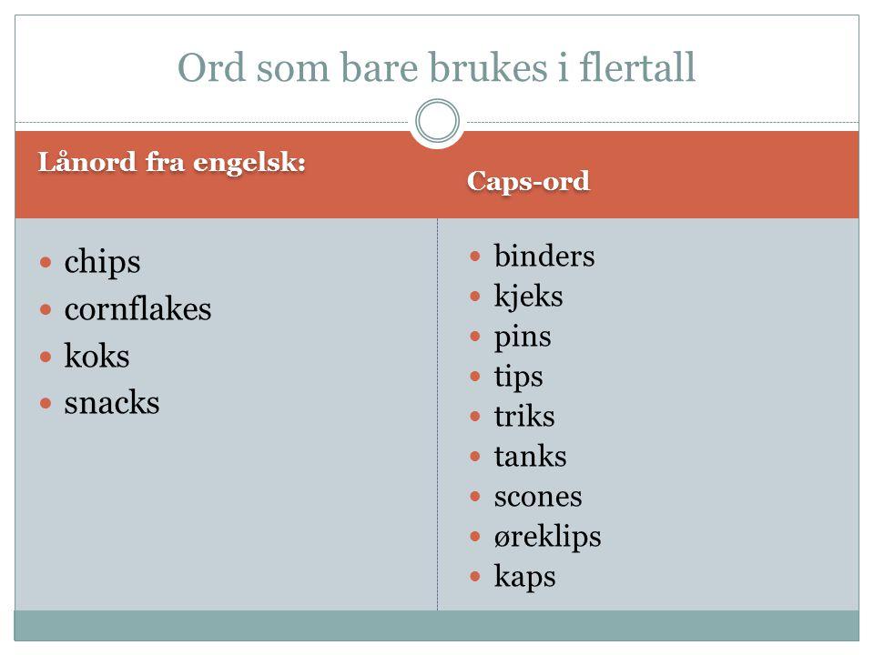 Lånord fra engelsk: Caps-ord  chips  cornflakes  koks  snacks  binders  kjeks  pins  tips  triks  tanks  scones  øreklips  kaps Ord som b