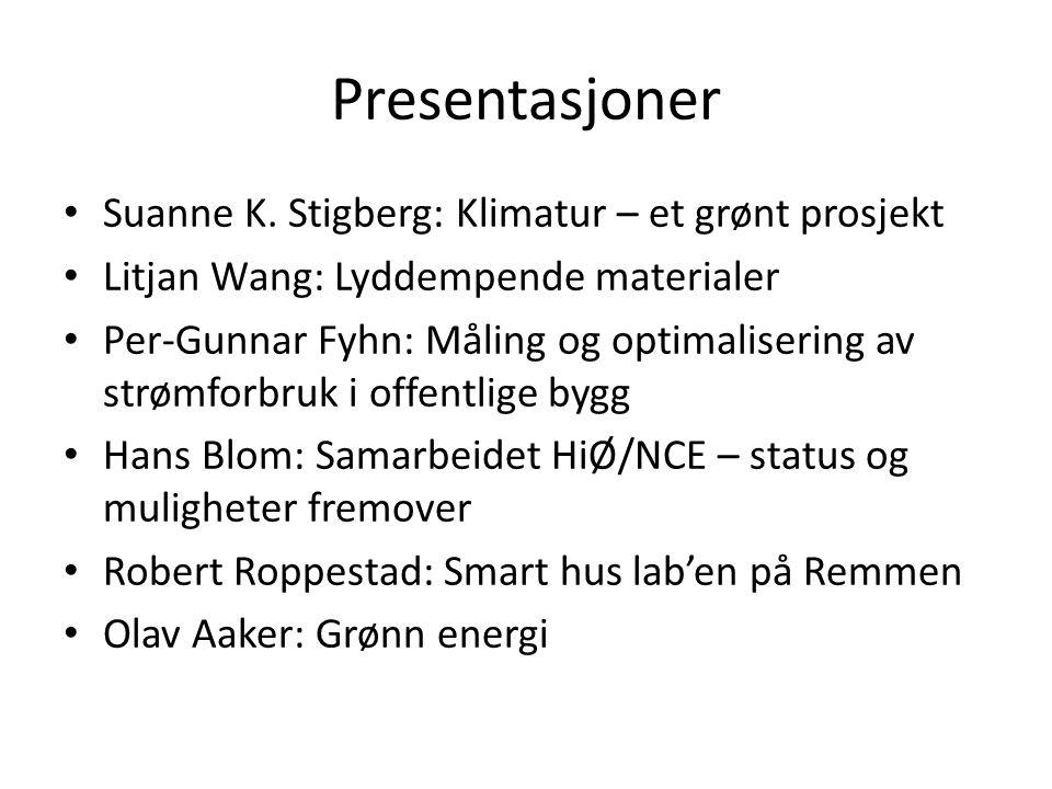Presentasjoner • Suanne K. Stigberg: Klimatur – et grønt prosjekt • Litjan Wang: Lyddempende materialer • Per-Gunnar Fyhn: Måling og optimalisering av
