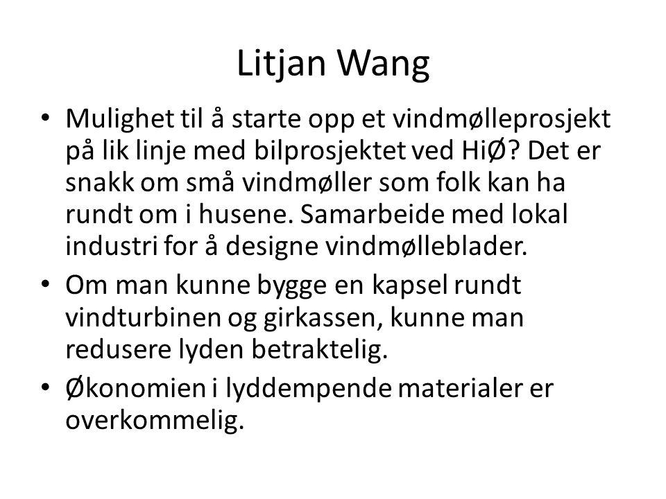 Litjan Wang • Mulighet til å starte opp et vindmølleprosjekt på lik linje med bilprosjektet ved HiØ? Det er snakk om små vindmøller som folk kan ha ru