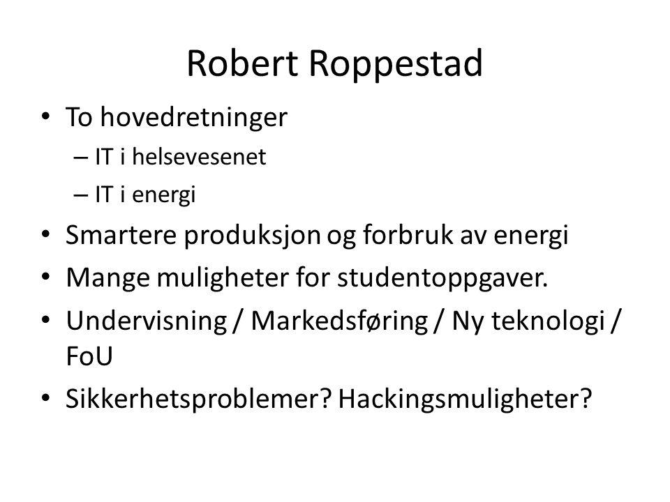 Robert Roppestad • To hovedretninger – IT i helsevesenet – IT i energi • Smartere produksjon og forbruk av energi • Mange muligheter for studentoppgaver.