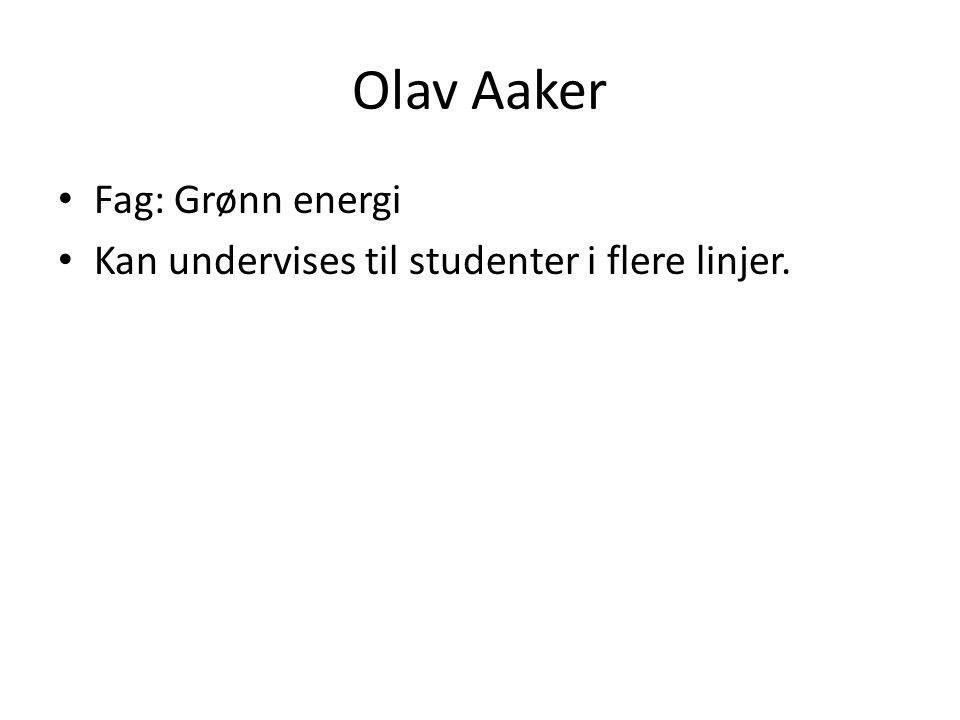 Olav Aaker • Fag: Grønn energi • Kan undervises til studenter i flere linjer.