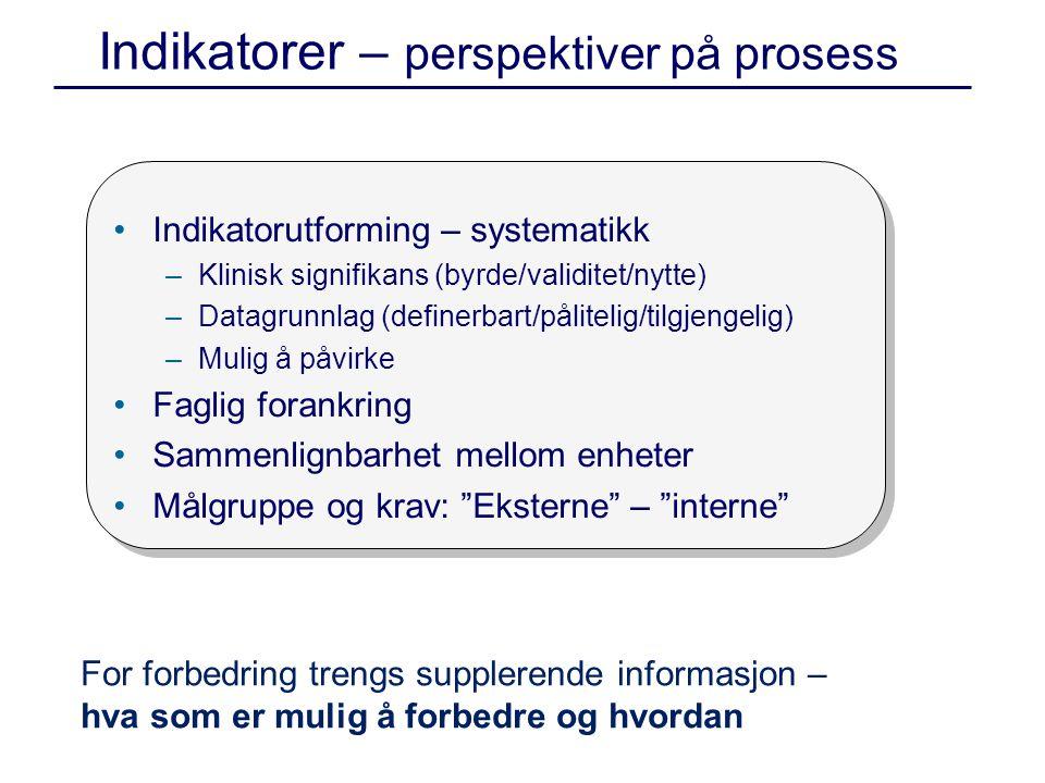 Indikatorer – perspektiver på prosess •Indikatorutforming – systematikk –Klinisk signifikans (byrde/validitet/nytte) –Datagrunnlag (definerbart/pålitelig/tilgjengelig) –Mulig å påvirke •Faglig forankring •Sammenlignbarhet mellom enheter •Målgruppe og krav: Eksterne – interne For forbedring trengs supplerende informasjon – hva som er mulig å forbedre og hvordan