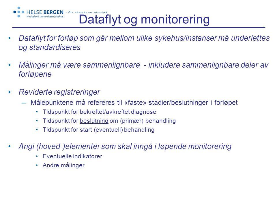 Dataflyt og monitorering •Dataflyt for forløp som går mellom ulike sykehus/instanser må underlettes og standardiseres •Målinger må være sammenlignbare - inkludere sammenlignbare deler av forløpene •Reviderte registreringer –Målepunktene må refereres til «faste» stadier/beslutninger i forløpet •Tidspunkt for bekreftet/avkreftet diagnose •Tidspunkt for beslutning om (primær) behandling •Tidspunkt for start (eventuell) behandling •Angi (hoved-)elementer som skal inngå i løpende monitorering •Eventuelle indikatorer •Andre målinger