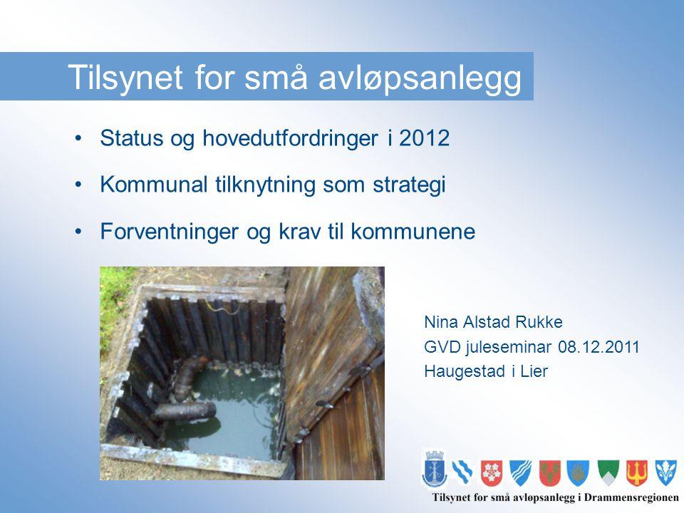 Tilsynet for små avløpsanlegg •Status og hovedutfordringer i 2012 •Kommunal tilknytning som strategi •Forventninger og krav til kommunene Nina Alstad