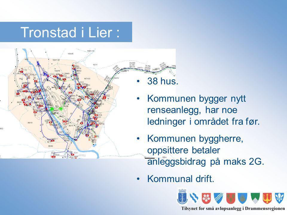 Tronstad i Lier : •38 hus. •Kommunen bygger nytt renseanlegg, har noe ledninger i området fra før. •Kommunen byggherre, oppsittere betaler anleggsbidr