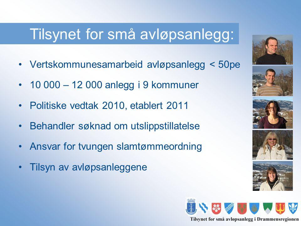 Tilsynet for små avløpsanlegg: •Vertskommunesamarbeid avløpsanlegg < 50pe •10 000 – 12 000 anlegg i 9 kommuner •Politiske vedtak 2010, etablert 2011 •