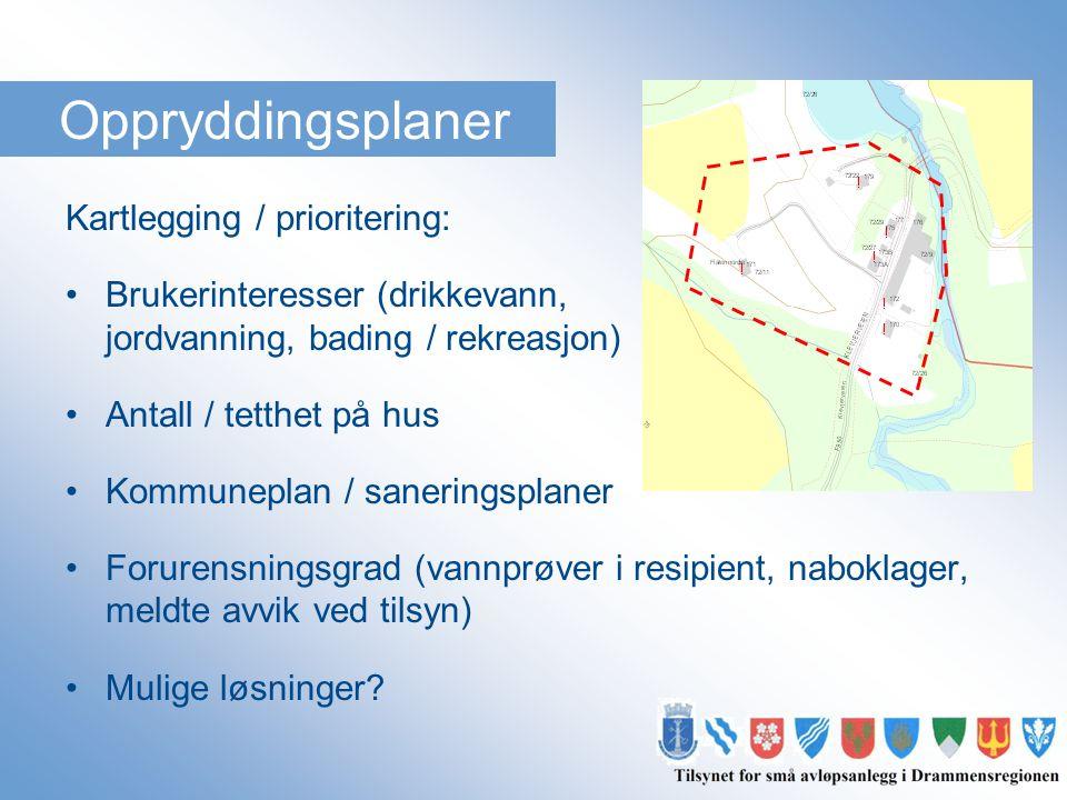 Oppryddingsplaner Kartlegging / prioritering: •Brukerinteresser (drikkevann, jordvanning, bading / rekreasjon) •Antall / tetthet på hus •Kommuneplan /