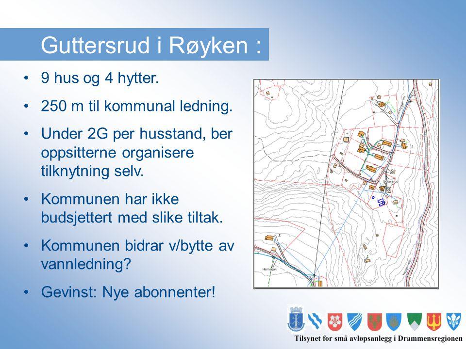 Guttersrud i Røyken : •9 hus og 4 hytter. •250 m til kommunal ledning. •Under 2G per husstand, ber oppsitterne organisere tilknytning selv. •Kommunen