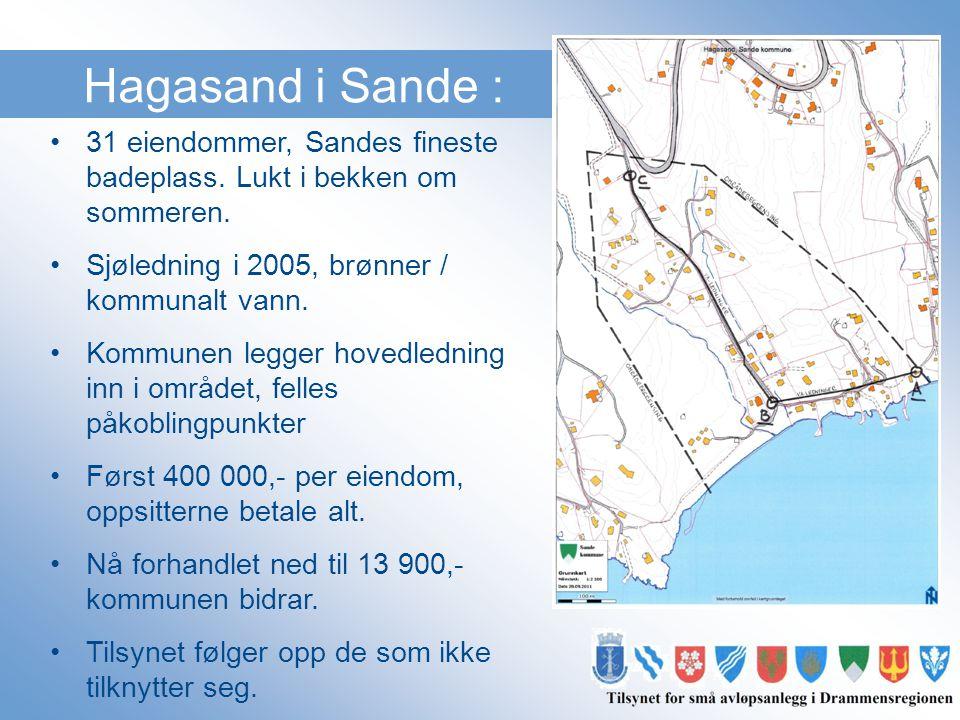 Hagasand i Sande : •31 eiendommer, Sandes fineste badeplass. Lukt i bekken om sommeren. •Sjøledning i 2005, brønner / kommunalt vann. •Kommunen legger