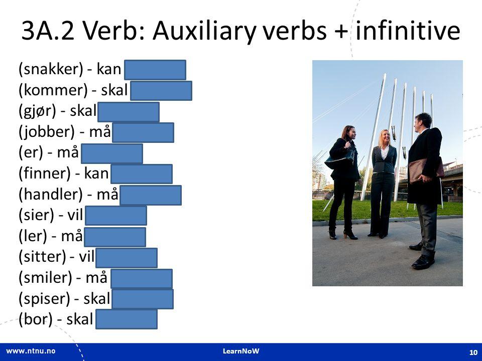 LearnNoW 3A.2 Verb: Auxiliary verbs + infinitive (snakker) - kan snakke (kommer) - skal komme (gjør) - skal gjøre (jobber) - må jobbe (er) - må være (