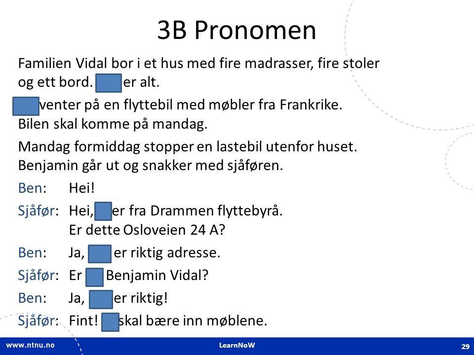 LearnNoW 3B Pronomen Familien Vidal bor i et hus med fire madrasser, fire stoler og ett bord. Det er alt. De venter på en flyttebil med møbler fra Fra