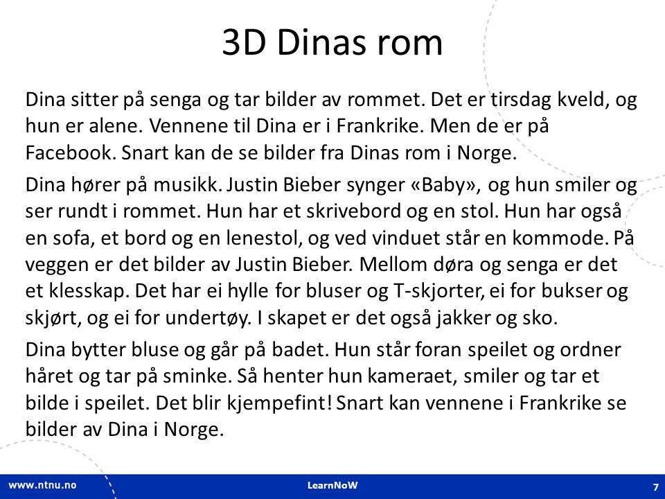 LearnNoW 3D Dinas rom Dina sitter på senga og tar bilder av rommet. Det er tirsdag kveld, og hun er alene. Vennene til Dina er i Frankrike. Men de er