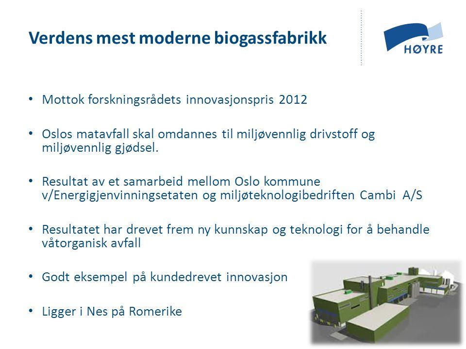 • Mottok forskningsrådets innovasjonspris 2012 • Oslos matavfall skal omdannes til miljøvennlig drivstoff og miljøvennlig gjødsel. • Resultat av et sa