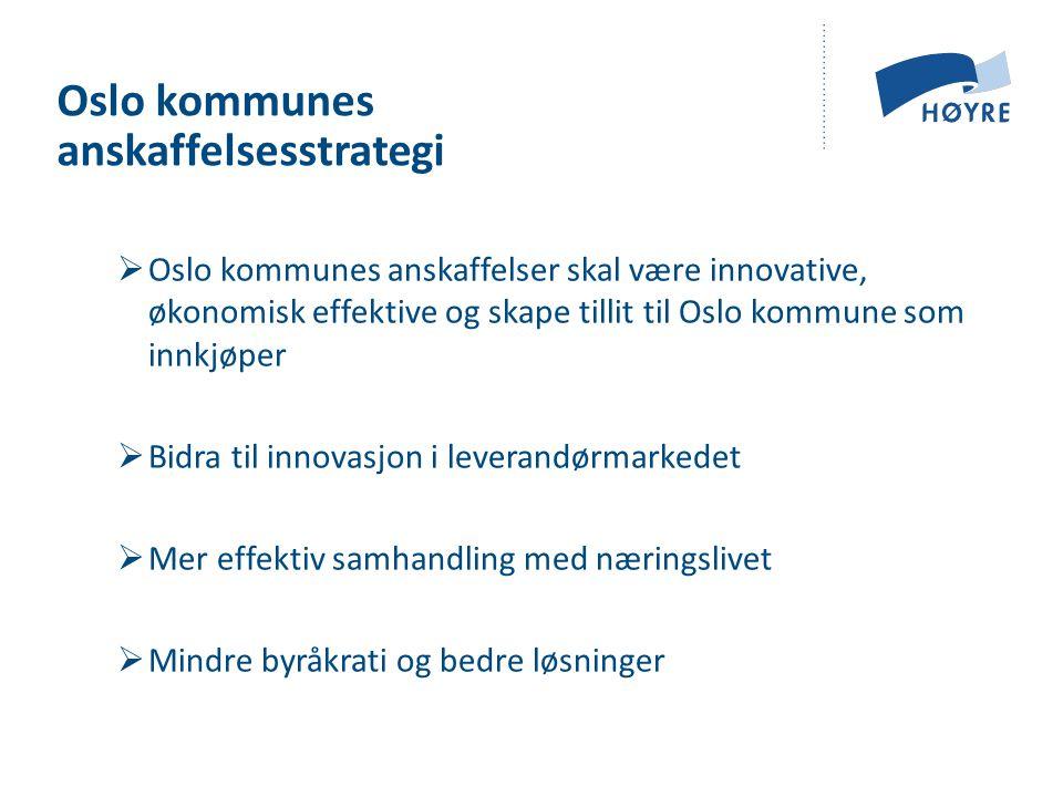 Oslo kommunes anskaffelsesstrategi  Oslo kommunes anskaffelser skal være innovative, økonomisk effektive og skape tillit til Oslo kommune som innkjøper  Bidra til innovasjon i leverandørmarkedet  Mer effektiv samhandling med næringslivet  Mindre byråkrati og bedre løsninger