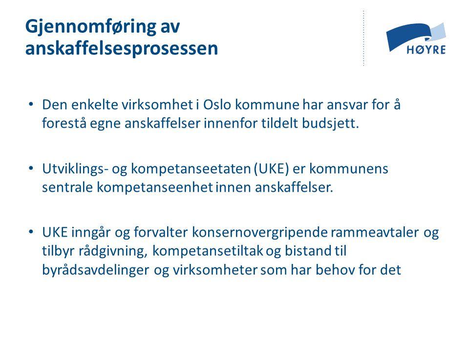 • Den enkelte virksomhet i Oslo kommune har ansvar for å forestå egne anskaffelser innenfor tildelt budsjett. • Utviklings- og kompetanseetaten (UKE)