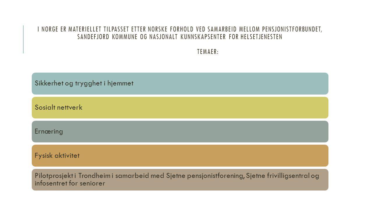 I NORGE ER MATERIELLET TILPASSET ETTER NORSKE FORHOLD VED SAMARBEID MELLOM PENSJONISTFORBUNDET, SANDEFJORD KOMMUNE OG NASJONALT KUNNSKAPSENTER FOR HEL