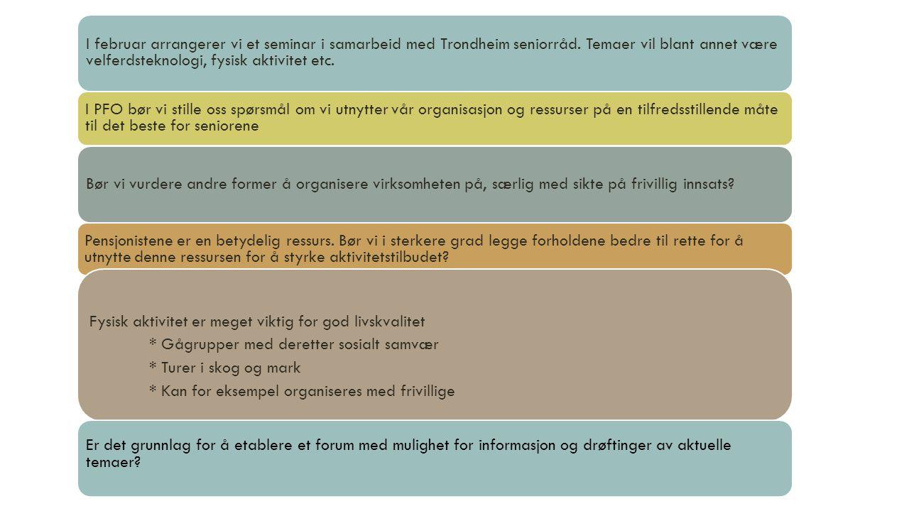 I februar arrangerer vi et seminar i samarbeid med Trondheim seniorråd. Temaer vil blant annet være velferdsteknologi, fysisk aktivitet etc. I PFO bør