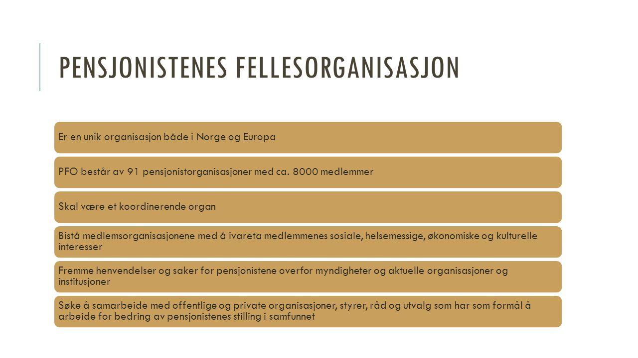 PENSJONISTENES FELLESORGANISASJON Er en unik organisasjon både i Norge og EuropaPFO består av 91 pensjonistorganisasjoner med ca. 8000 medlemmerSkal v